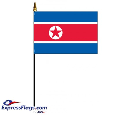 Korea, North Mounted Flags - 4in x 6in032285
