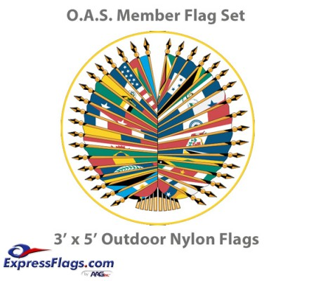3  x 5  Complete O.A.S. Member Flags - 35 Outdoor Nylon Flags034654