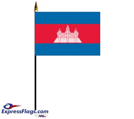Cambodia Mounted Flags - 4in x 6in030717