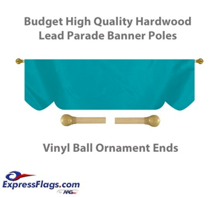 Budget Wood Lead Parade Banner Poles with Vinyl Ball Ornament EndsBWD-B