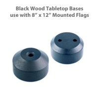 Black Wood Tabletop Flag Bases