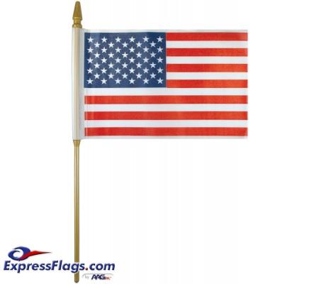 Plastic U.S. Stick Flags - 4in x 6in - Made in USA010247