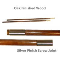 Oak Finished Wood Indoor Poles - Chrome Plated Solid Brass Screw Joint