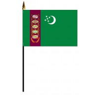 Turkmenistan Mounted Flags - 4in x 6in