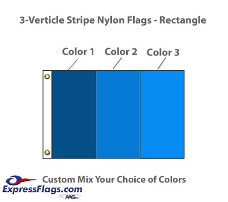 3-Verticle Stripe Nylon Flags - RectangleNY-R3VS