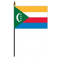 Comoros Mounted Flags - 4in x 6in