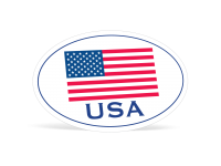 Oval American Flag Die-Cut Decals - 4 in x 6 in