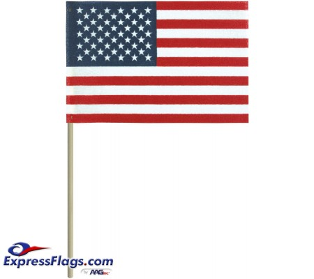 No-Fray Cotton U.S. Stick Flags - No Tip - Made in USANFNT-USSF