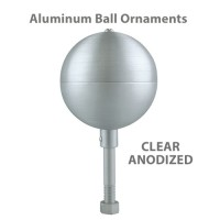Aluminum Ball Outdoor Flagpole Ornaments - Clear Anodized