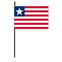 Liberia Mounted Flags - 4in x 6in