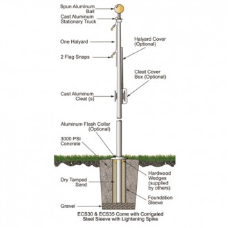15 ft. Budget Series Aluminum Flagpole - External Halyard