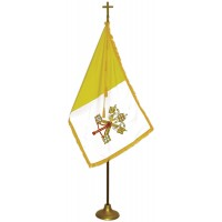 Deluxe Aluminum Pole Papal / Catholic Flag Indoor Display Sets